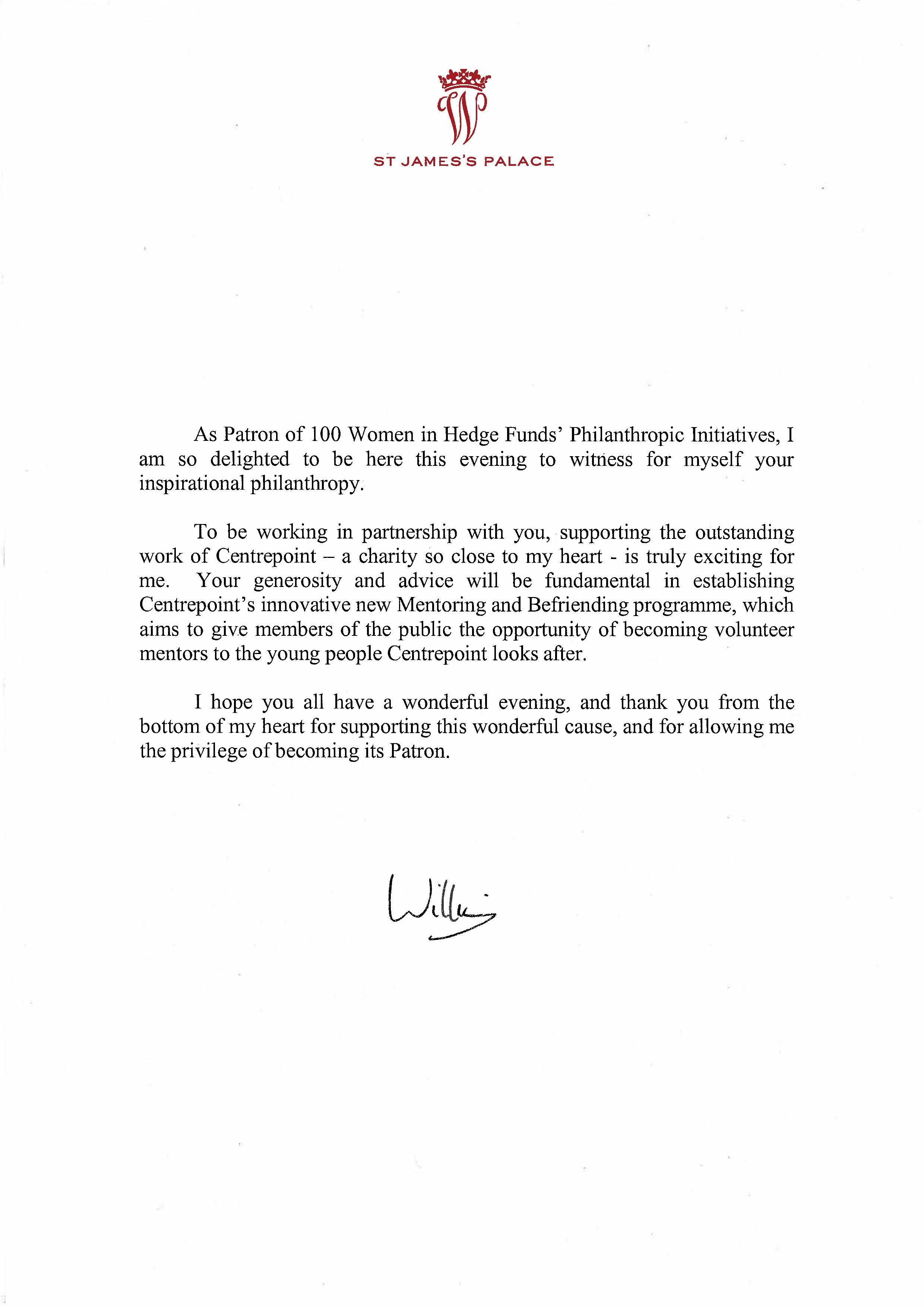 Letter from Duke of Cambridge