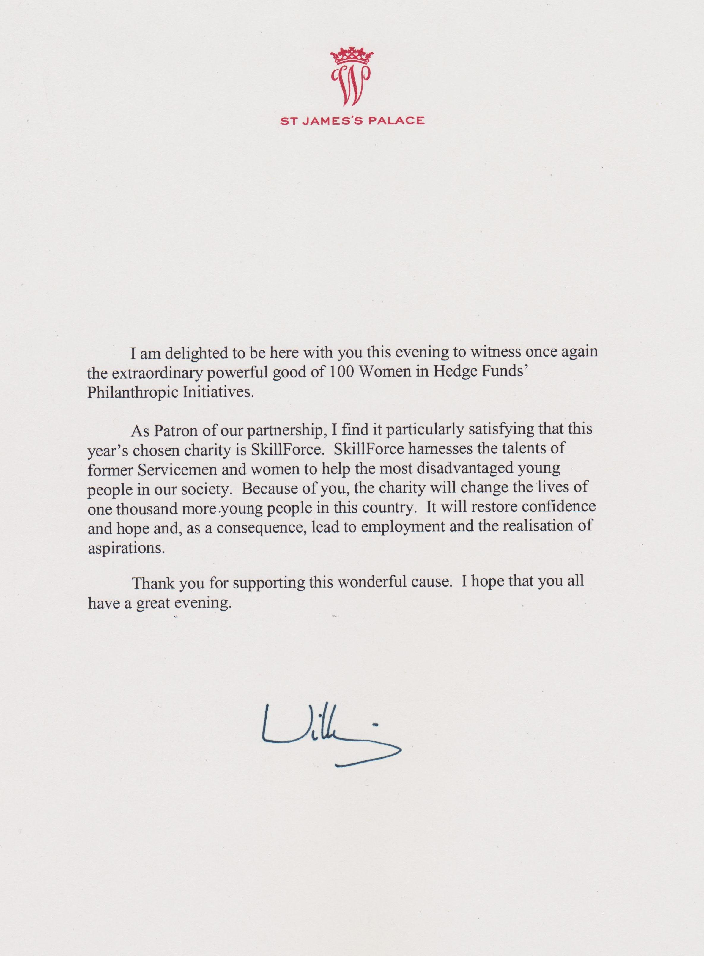 Letter from Duke of Cambridge