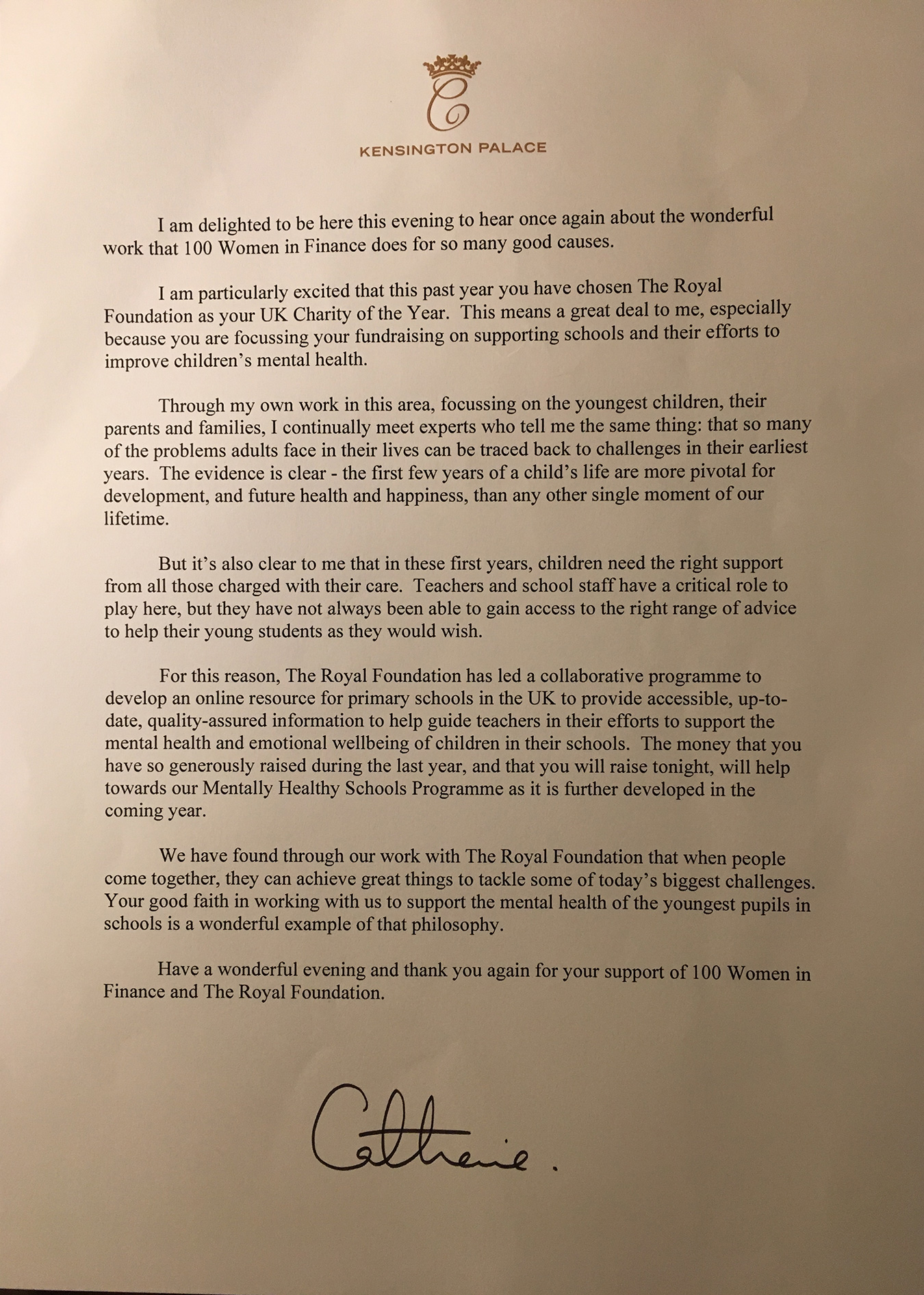 Letter from Duchess of Cambridge