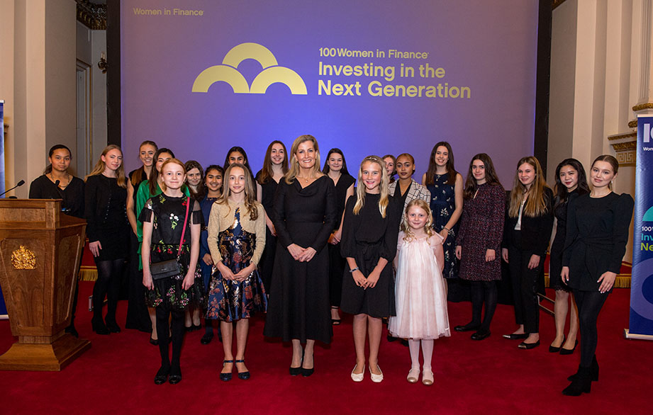HRH The Countess of Wessex with young guests at the 100WF reception at Buckingham Palace