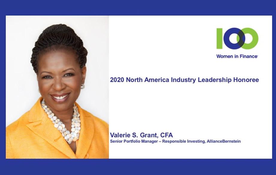 100 Women in Finance Names AllianceBernstein's Valerie S. Grant, CFA as its 2020 North America Industry Leadership Honoree.