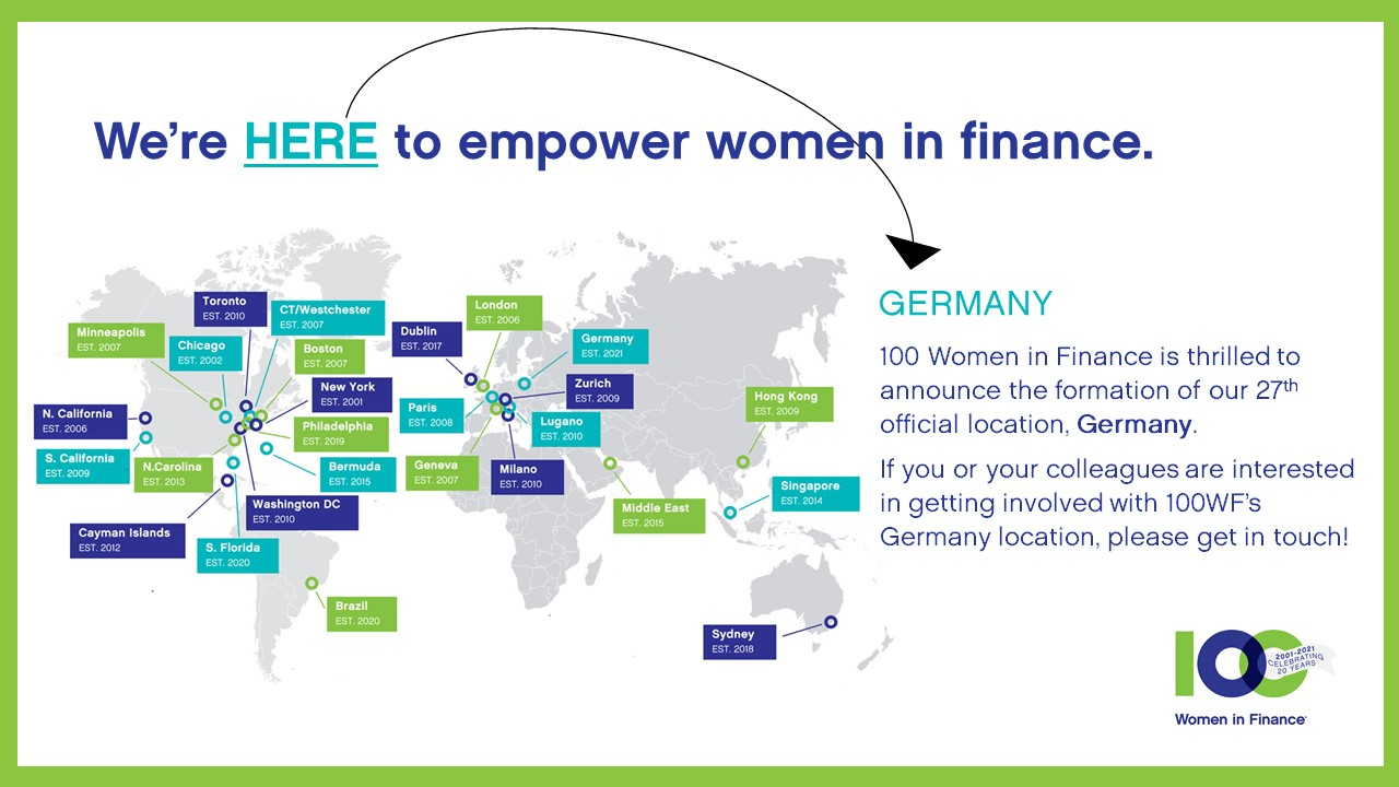 100 Women in Finance Announces the Launch of its Germany Location, the 27th in the Global Organization