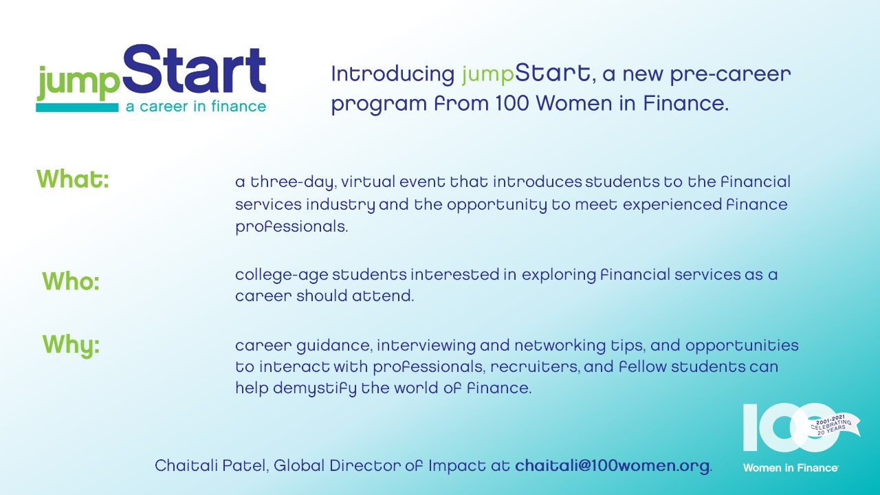 Introducing a new pre-career program from 100 Women in Finance