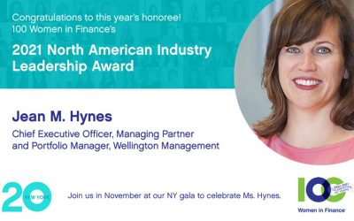Wellington Management's Jean M. Hynes Named Recipient of 100 Women in Finance's 2021 North American Industry Leadership Award